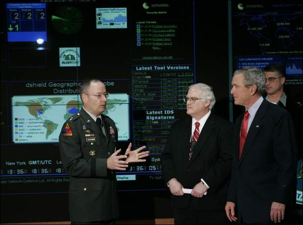 President Bush at the NSA, in front of our radar!